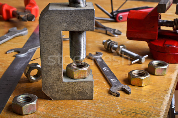 ナット 手 木製のテーブル 建設 表 ストックフォト © zia_shusha