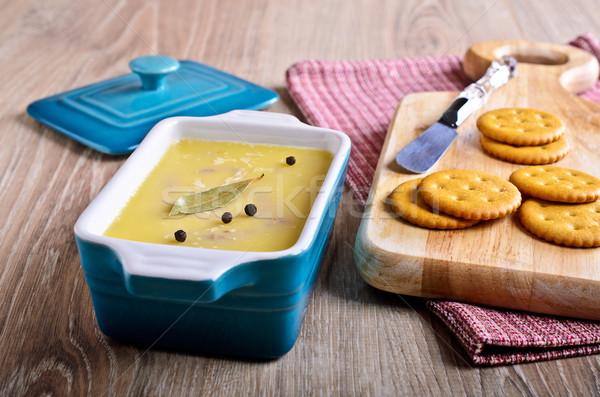 Coberto gordura cerâmico retangular forma comida Foto stock © zia_shusha