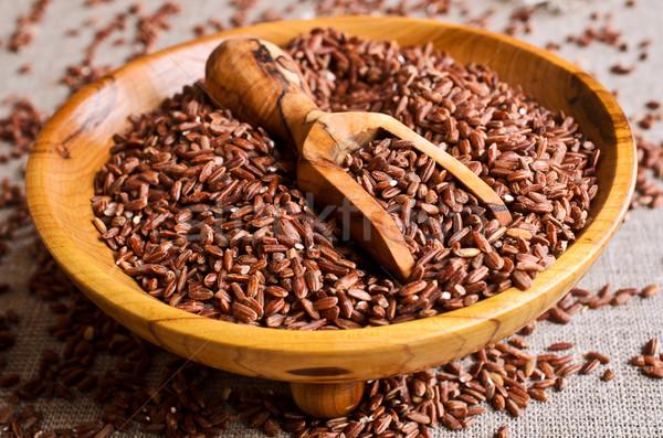 Bruin rijst geheel ruw graan pot Stockfoto © zia_shusha