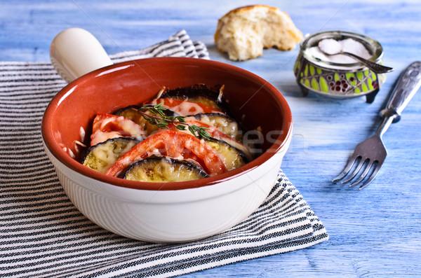 Casserole of eggplant and tomato with cheese Stock photo © zia_shusha
