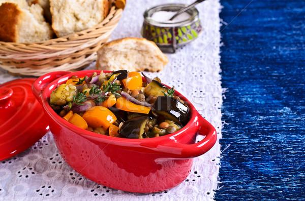 Stock photo: Lentils cooked with vegetables