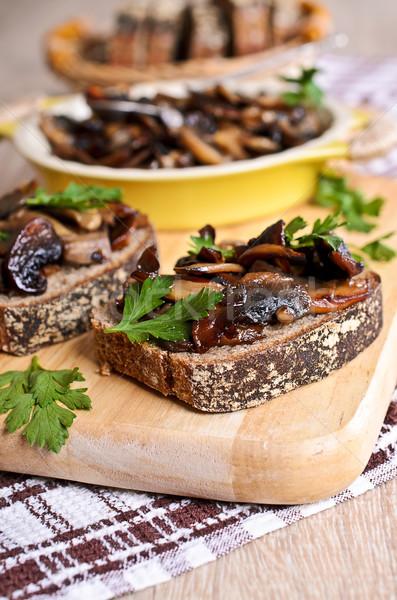 Sandwich with sauteed mushrooms Stock photo © zia_shusha