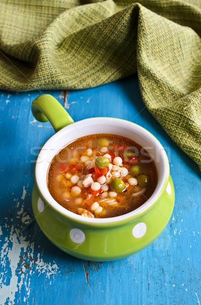 çorba küçük makarna sebze parçalar et Stok fotoğraf © zia_shusha
