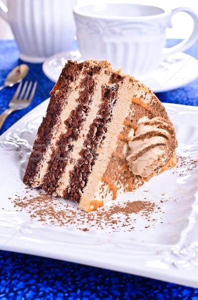 Rosolare torta crema taglio pezzo piatto Foto d'archivio © zia_shusha