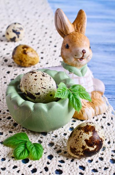 Wielkanoc jaj dekoracyjny koszyka rysunku królik Zdjęcia stock © zia_shusha