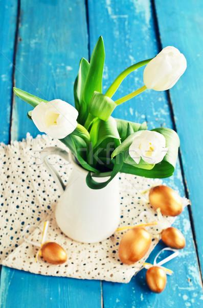 Weiß Tulpen Vase alten blau Gold Stock foto © zia_shusha