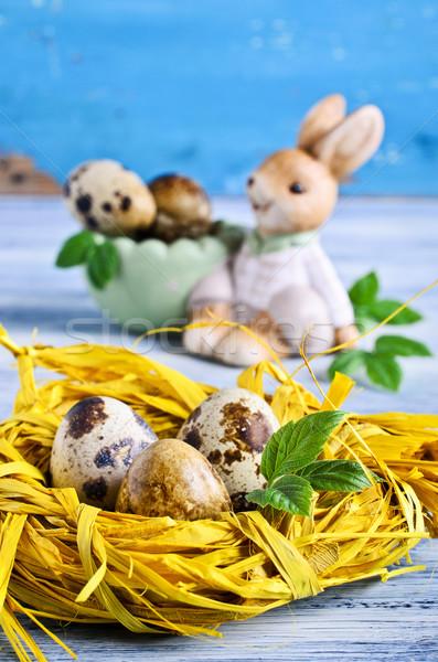 Páscoa ovos decorativo ninho palha decorações Foto stock © zia_shusha