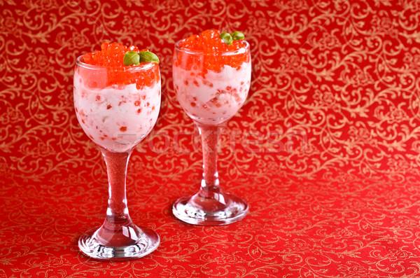 Red caviar with cream cheese Stock photo © zia_shusha