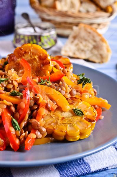 Lencse piros paprika kukorica kerámia tányér festett Stock fotó © zia_shusha