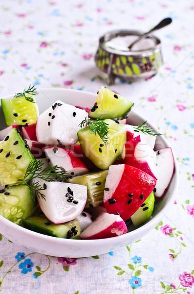 Salata turp salatalık susam sağlık yağ Stok fotoğraf © zia_shusha