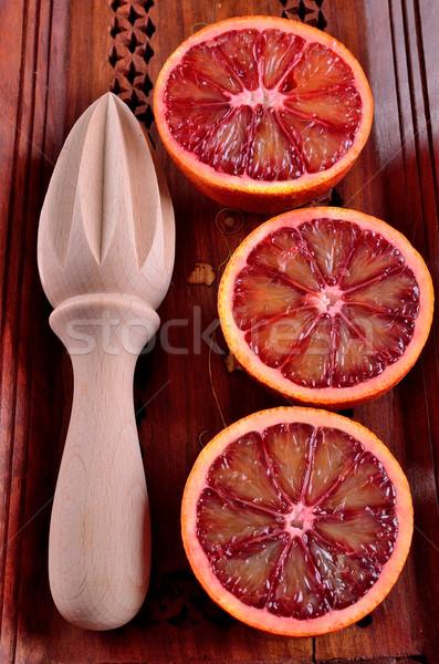 Kırmızı turuncu kesmek gıda plaka bant Stok fotoğraf © zia_shusha