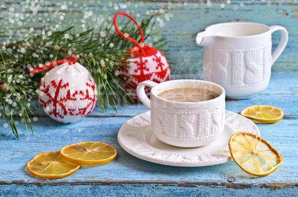 белый Кубок горячий напиток коричневый цвета ель Сток-фото © zia_shusha