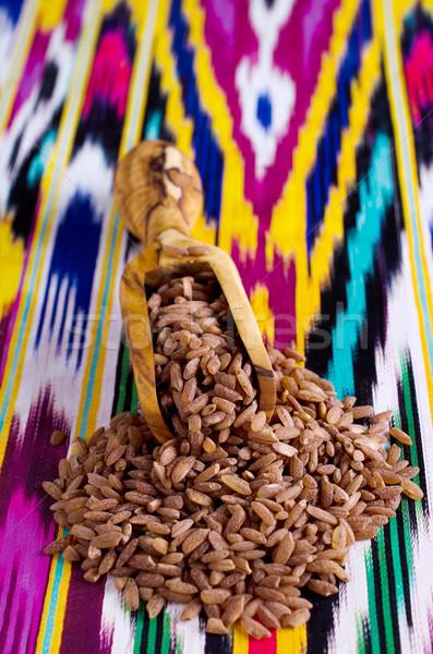 Rijst bruin graan Rood beker indian Stockfoto © zia_shusha