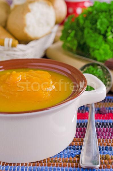 Dynia zupa jasne pomarańczowy kolor żywności Zdjęcia stock © zia_shusha