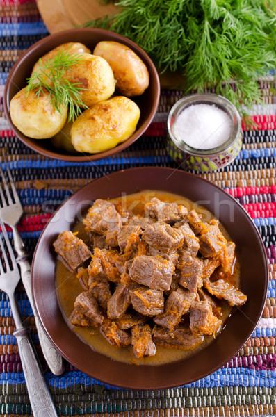 Ensopado peças carne servido rústico estilo Foto stock © zia_shusha