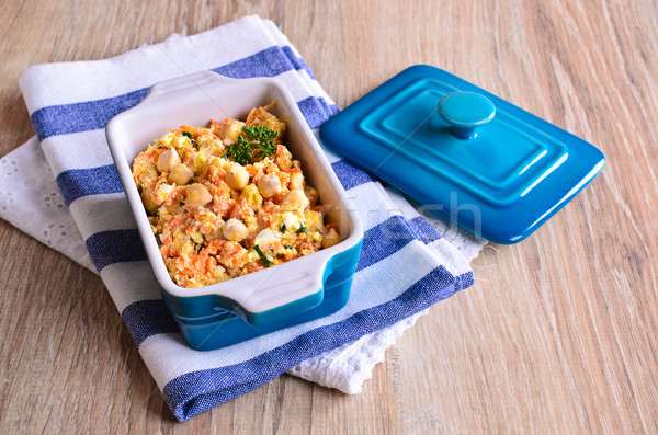 Salad with carrots, cheese and chickpeas Stock photo © zia_shusha