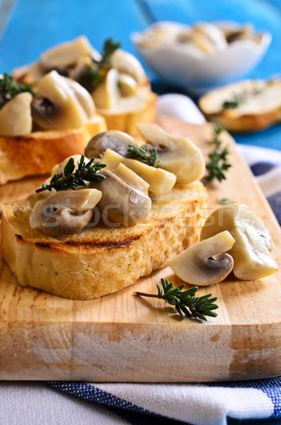Szendvics gombák fából készült felület étel olaj Stock fotó © zia_shusha
