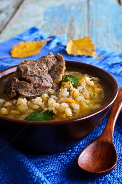 Stock fotó: Leves · gyöngy · árpa · hús · zöldségek · tál
