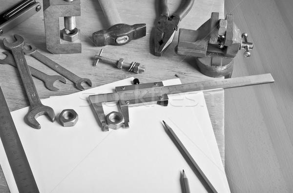 The measuring tool and white sheets Stock photo © zia_shusha