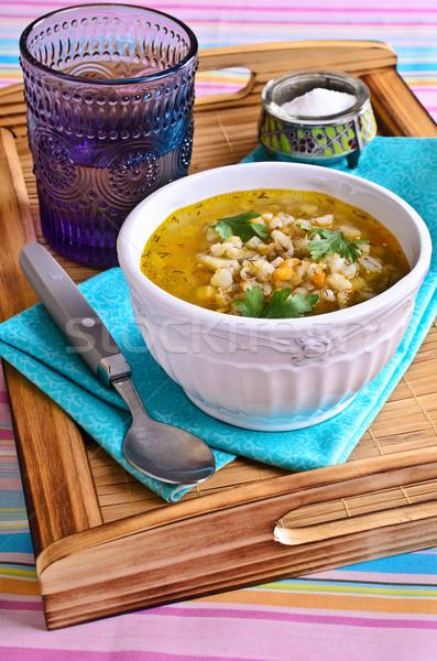 Soep parel gerst groenten plaat voedsel Stockfoto © zia_shusha