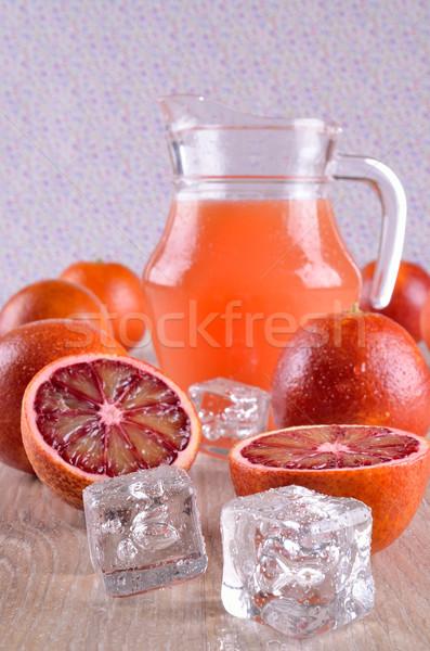 Jég átlátszó jégkockák citrus gyümölcsök narancs Stock fotó © zia_shusha