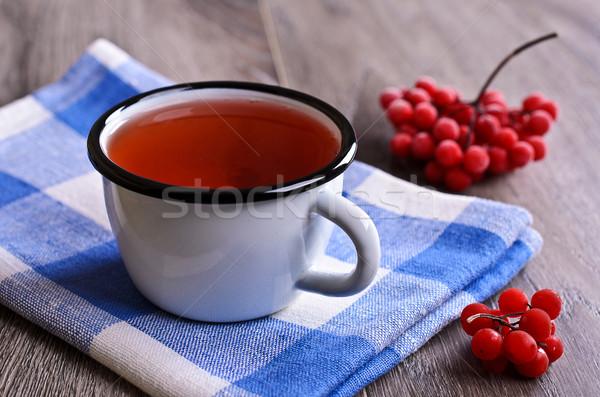 Rouge jus liquide émail mug santé Photo stock © zia_shusha