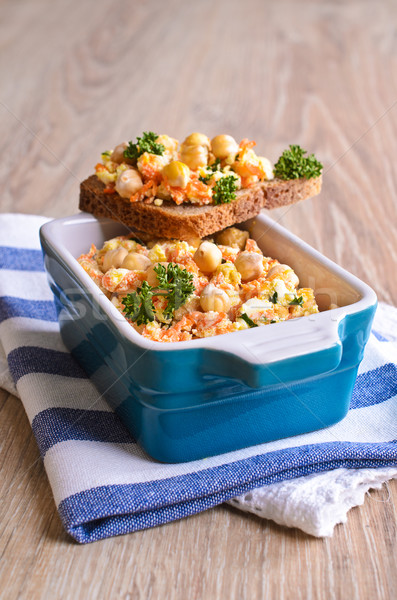Sandwich with carrots, cheese and chickpeas Stock photo © zia_shusha