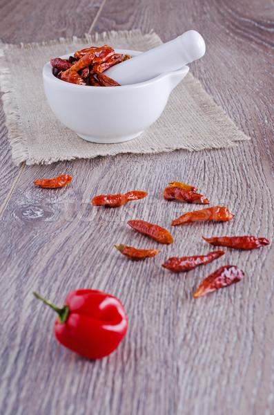 Vermelho pimenta secas pequeno branco cozinhar Foto stock © zia_shusha