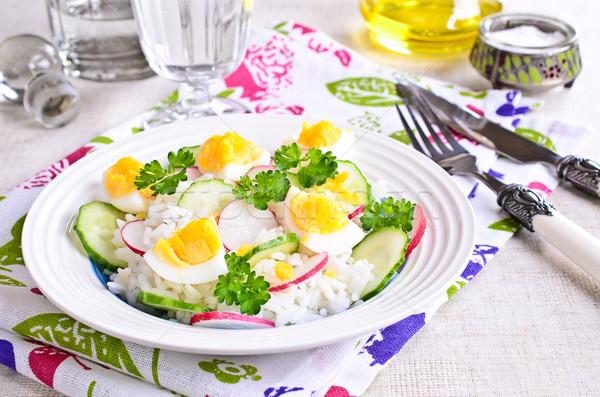 Blanche riz radis concombre oeufs brut Photo stock © zia_shusha