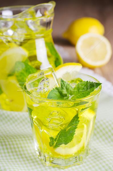Limonata soğutma içmek sarı buz nane Stok fotoğraf © zia_shusha