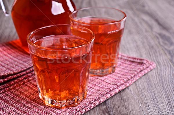 Vermelho suco vidro proveta comida folha Foto stock © zia_shusha