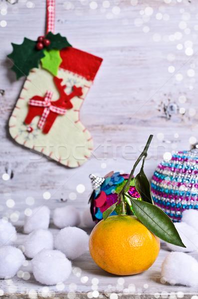 Stockfoto: Christmas · sneeuw · decoraties · groene · leuk · geschenk