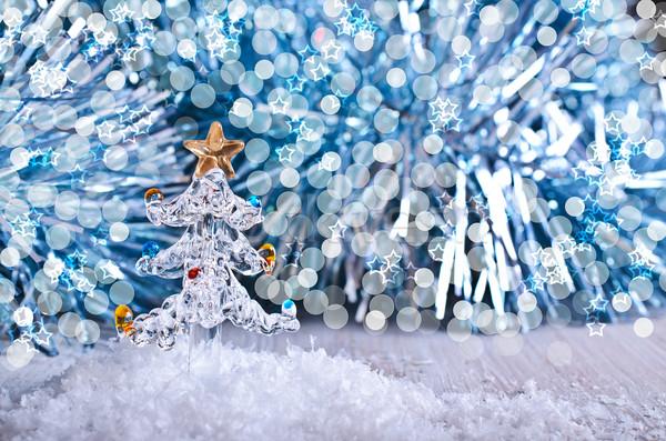 Noël verre arbre de noël artificielle neige design Photo stock © zia_shusha
