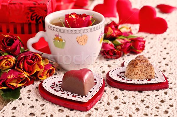 バレンタインデー キャンディ 中心 装飾的な ソーサー ストックフォト © zia_shusha