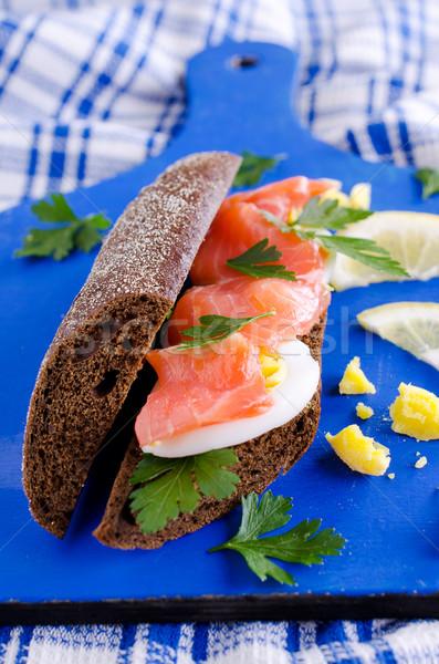 Sandwich salmone uova segale pane Foto d'archivio © zia_shusha