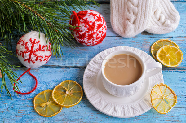 Beyaz fincan sıcak içecek kahverengi renk Stok fotoğraf © zia_shusha