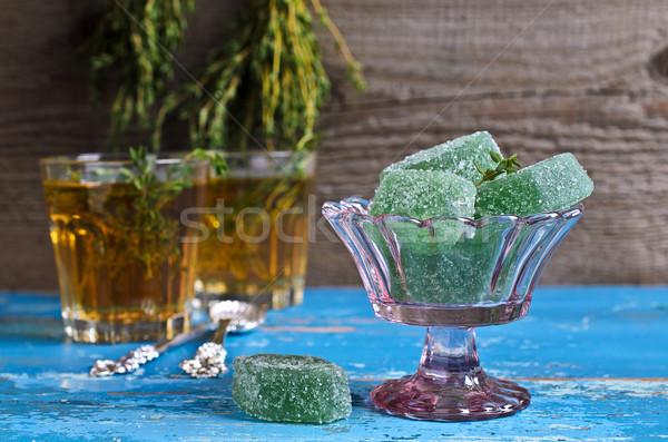 желе зеленый конфеты цвета стекла ваза Сток-фото © zia_shusha
