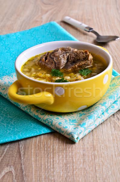 Zdjęcia stock: Zupa · perła · jęczmień · mięsa · warzyw · puchar