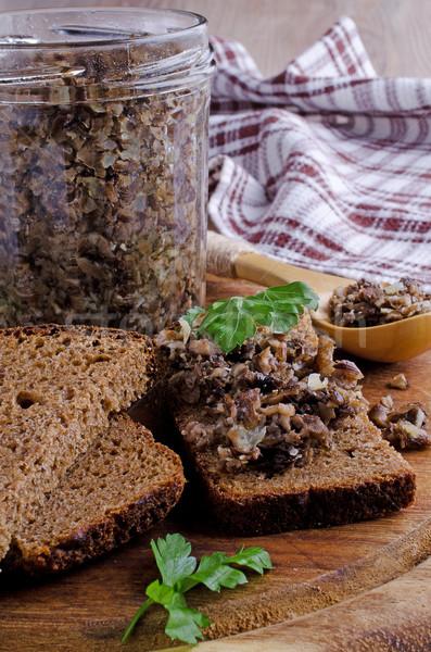 Grzyby posiekane szkła chleba banku gotowania Zdjęcia stock © zia_shusha