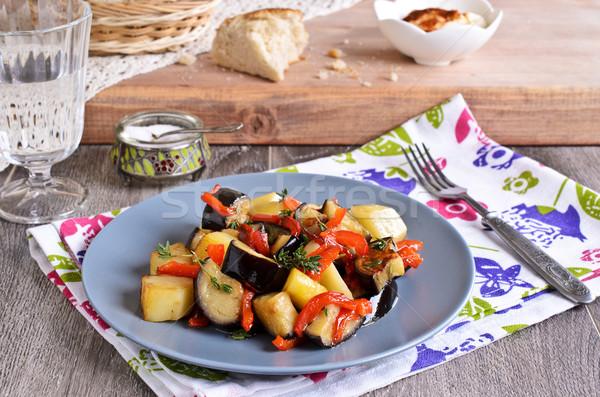Stock fotó: Zöldségek · pörkölt · szeletek · padlizsán · paprikák · krumpli
