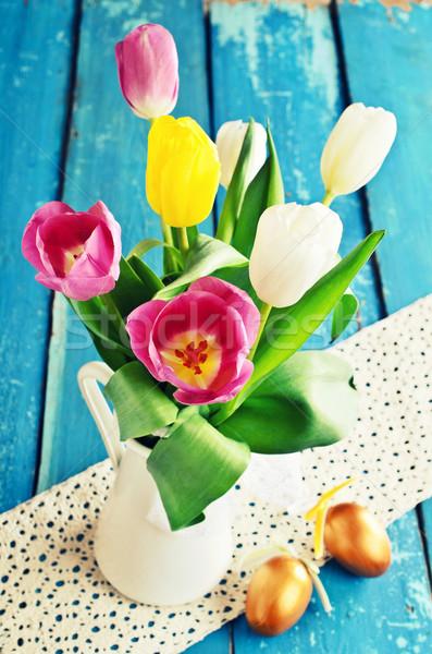 Tulpen verschillend kleuren vaas oude Blauw Stockfoto © zia_shusha