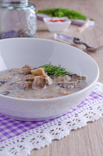 Cogumelos cogumelo sopa marrom cerâmico tigela Foto stock © zia_shusha