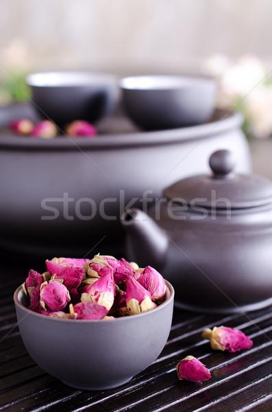 Secas rosa usado chá madeira Foto stock © zia_shusha