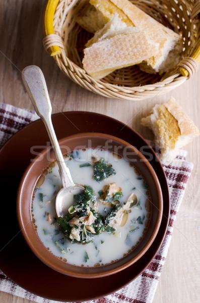Сток-фото: суп · белый · рыбы · зеленый · молоко