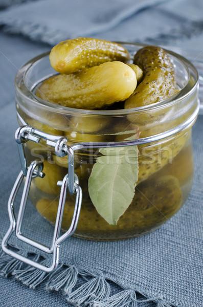 Augurken transparant glas jar voedsel eten Stockfoto © zia_shusha