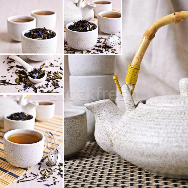 Stock photo: Collage of photos with black tea