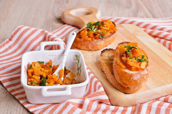 Sandwich pompoen gekookt gehakt stukken geroosterd Stockfoto © zia_shusha