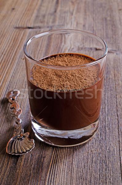 Mus czekoladowy szkła przezroczysty żywności drewna pić Zdjęcia stock © zia_shusha