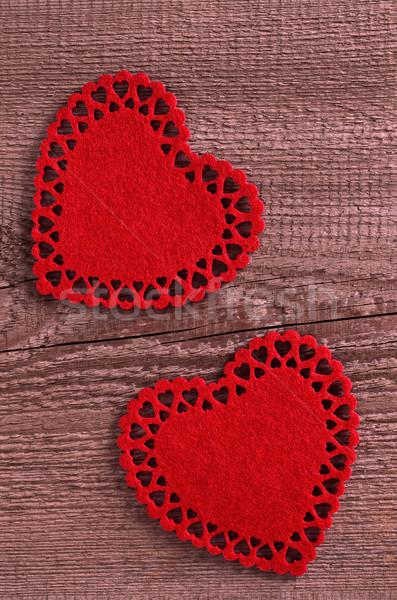Dal valentin nap kettő piros szívek vág Stock fotó © zia_shusha