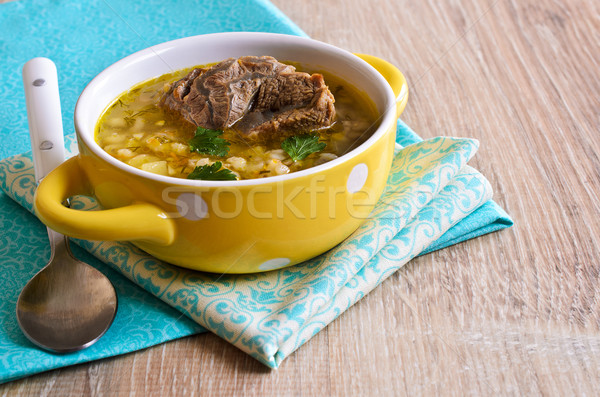 Soup with pearl barley and meat Stock photo © zia_shusha